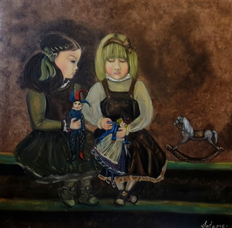 Salome Chelidze - The Play Oil on Canvas, Paintings