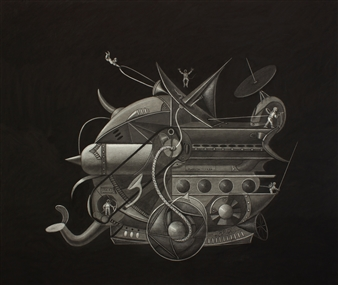 Pedro Vargas - Machine Crossing the Cosmos Charcoal on Paper, Drawings