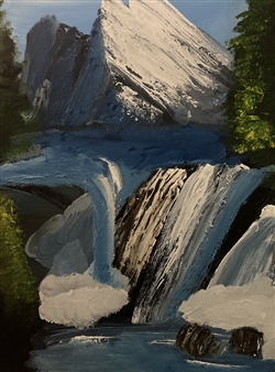 Aaron Cristofaro - Waterfall Mountain B Oil on Canvas Panel, Paintings