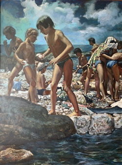 Alexandr Mischan - Gymnastics on the Black Sea (1 of 4) Tempera and Oil on Board, Paintings