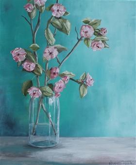 Elizabeth Sabine - Flowering Branches Oil on Canvas, Paintings
