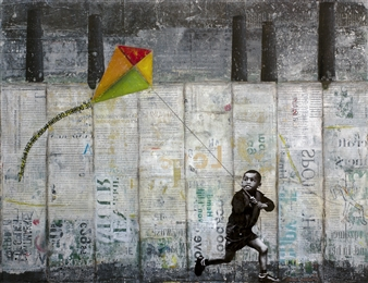 db Waterman - Kid with Kite Acrylic & Collage on Paper, Mixed Media