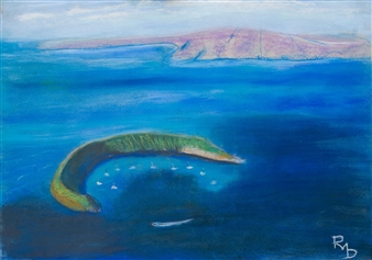 Raul Mariaca Dalence - Volcano Crater of Malokai Pastel on Canvas, Paintings