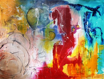 "Bulsby ""Buzz"" Duncan - Universal Energy Acrylic & Charcoal on Canvas, Mixed Media"
