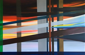Rebecca Stenn - Telephone Poles and Wires Acrylic on Canvas, Paintings