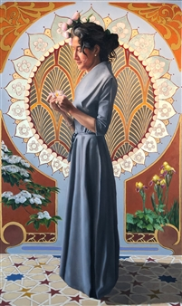 John Britton - Contemplation 1 Oil on Canvas, Paintings
