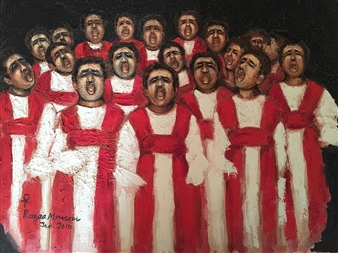 Ragaa Mansour - Prayers Oil on Canvas, Paintings