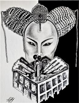 Pitanius - Breathe Pen on Canvas, Drawings