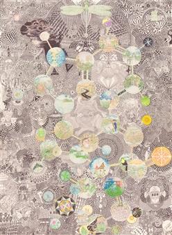 Israel Gonzalez - Molecule I Ball Point Pen on Canvas, Drawings