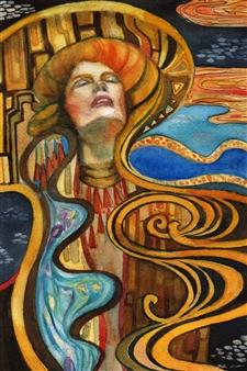 Yuki Goodman - Lady on the Lakeside Watercolor & Ink on Paper, Paintings