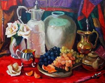 Nadia Jampolski - Grapes & Roses Oil on Canvas, Paintings