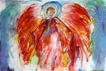 Dede Schuhmacher - Archangel Uriel Oil on Linen, Paintings