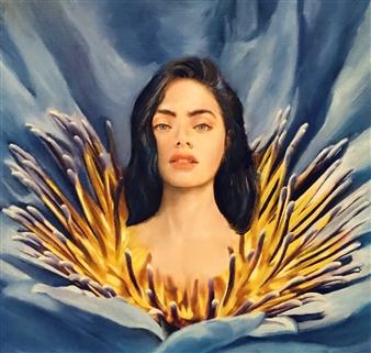 Mehrnosh Kaecker - Reborn As Flower Oil on Paper, Paintings