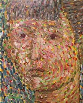 Masaoki Mitsutake - Face No.6 Oil on Canvas, Paintings