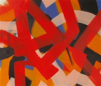 Akihito Izumi - Composition-1 Oil on Canvas, Paintings