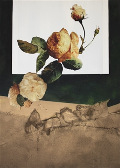 Pamela Bennett Ader - Orange Peony Mixed Media on Canvas, Mixed Media