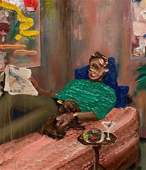 Kazusa Matsuyama - Man on Pink Sofa Acrylic on Canvas, Paintings