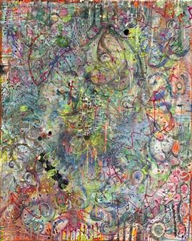 Denel-KK (Kristen Keeling) - Green Orb Mixed Media on Canvas, Mixed Media