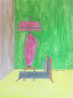 Richard Tomlin - Fuschia Lamp with Grey Chaise Longue Watercolor on Paper, Paintings
