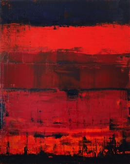 Catherine Timotei - Reflection on Red Oil on Canvas, Paintings