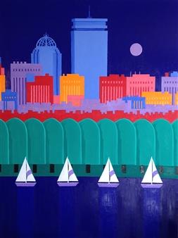 Mario España - Boston Prudential Oil on Canvas, Paintings