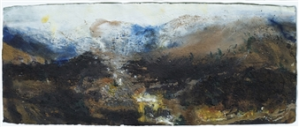 Frances Hatch - Allt Mor to The Chalamain Gap. Glenmore, Cairngorm Acrylic & Mixed Media on Archival Paper, Mixed Media