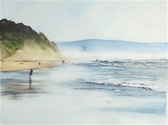 Nancy Holleran - Hazy Day at LaSelva Beach Watercolor on Paper, Paintings