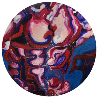 Ashley Morgan - Circular Purple Torso Acrylic on Canvas, Paintings