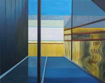 Grace Dam - Blue and Yellow Acrylic on Canvas, Paintings