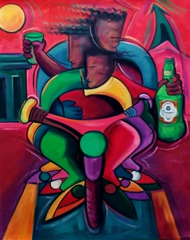 Miguel de la Cruz - Fiestando en la Manana Oil on Canvas, Paintings