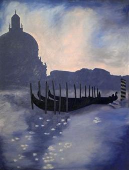Maribel Matthews - Blue Venice Oil on Canvas, Paintings