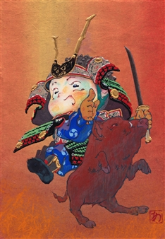 Akinori Ohtsuka - Rushing Warrior Mixed Media on Japanese Paper, Mixed Media