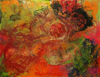 Maria Medrano - Blood Moon Oil, Acrylic, Gesso, Resin on Canvas, Mixed Media