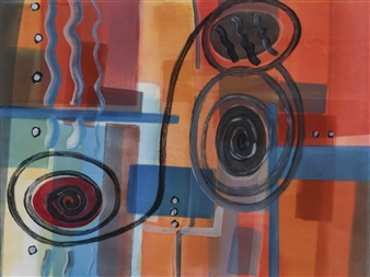 Donna Broder - Riding a Bicycle on a Vertical Wave Monotype on Fine Art Paper, Prints