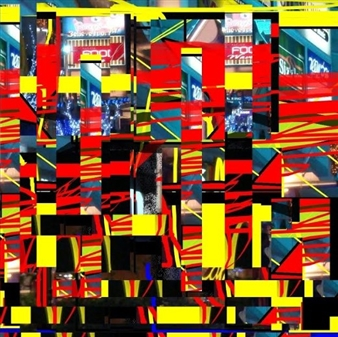 Silajit Ghosh - Red Pillars and Yellow Beams Digital Artwork on Canvas, Digital Art