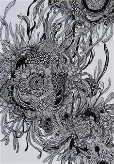 Kaoru Kushima - Sunflower Pen on Paper, Drawings