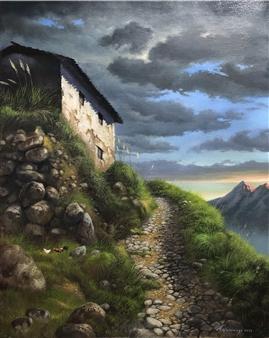 Mauricio Valdiviezo - Camino de Piedra Oil on Canvas, Paintings