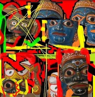 Silajit Ghosh - Masks from India Digital Artwork on Canvas, Digital Art