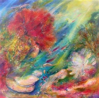 Caroline Degroiselle - Flaming Aquatic Palette Acrylic on Canvas, Paintings