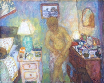 Jenny Ahmad - Yellow Nude and the Blue Bedroom Oil on Board, Paintings