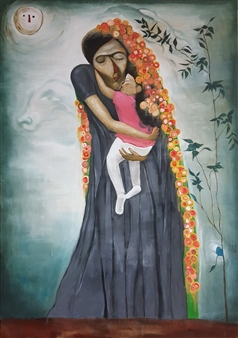 Seo - Mother and Child Oil on Canvas, Paintings