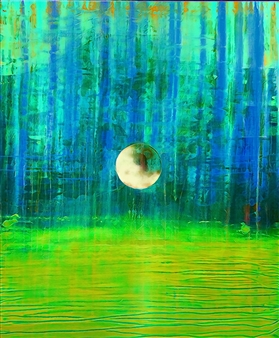 PJ Riley - CREATION THEORY: We are all Floating in an Unformed Space (green) Digital Art and Acrylic on Canvas, Digital Art