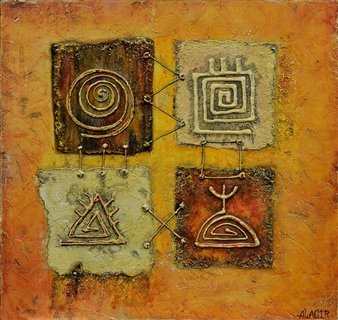 Alagir - Hypostasis of Divination Oil on Canvas Board, Paintings