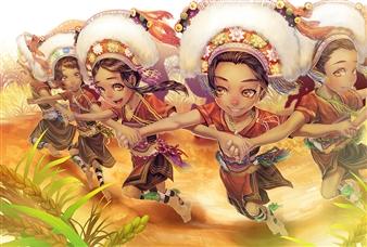 Han-Yuan Yu - Taiwanese Aborigine Amis Tribe Celebrates Harvest Digital Print on Canvas, Digital Art