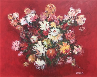 Mushegh Grigoryan - Red Flowers Acrylic on Canvas, Paintings