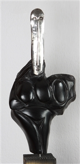 Venceslao Mascia - Dea Madre (Womb to the Side) Obsidian and Silver, Sculpture
