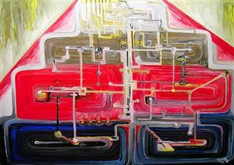 Dan Aug - Silicon Brain Oil on Canvas, Paintings
