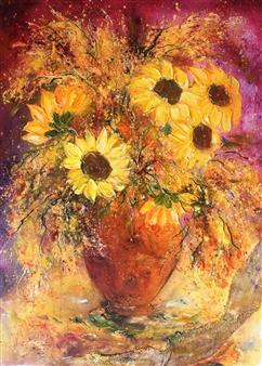 Caroline Degroiselle - Dancing Sunny Flowers Bouquet Acrylic on Canvas, Paintings