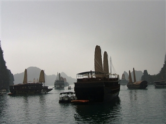 Wallace - Some Junks (Ha-Long Bay) Photographic Print on Fine Art Paper, Photography