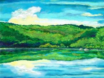 Michael Victor ▪ MVR - Nativescape NY State Fishing Lake Mixed Media Digital Print, Mixed Media